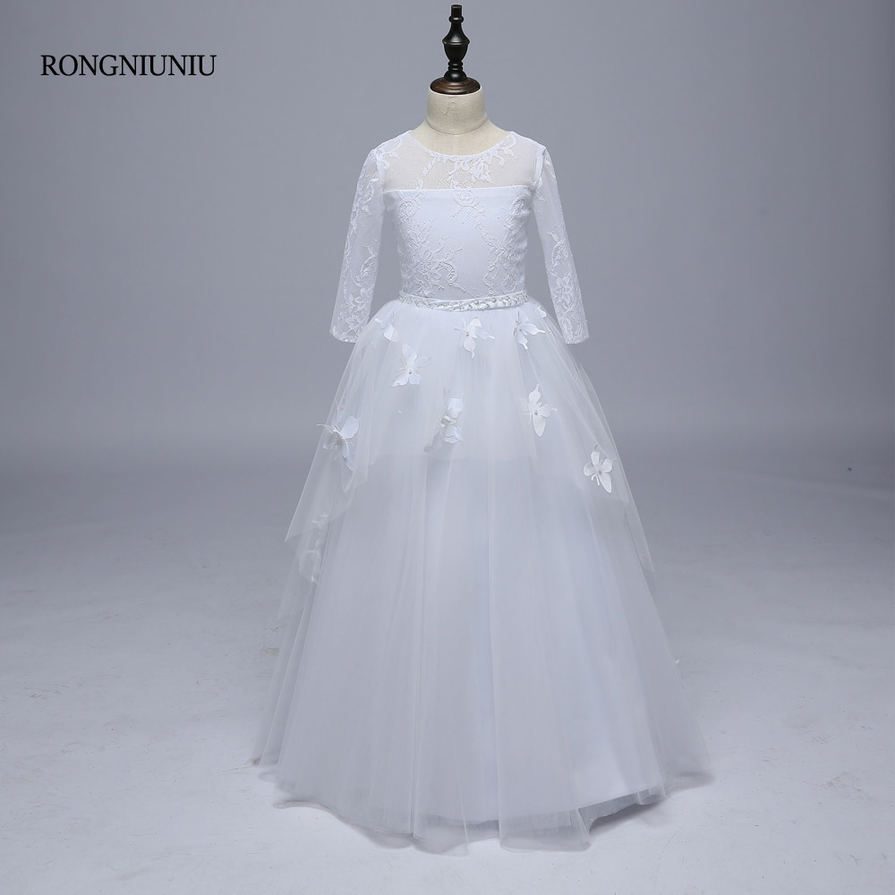 Flower     Girl     Dresses   2018 Lace Tull A-Line Long Sleeves Butterfly Custom Handmade Beading Pink Belt Floor Length Weddings