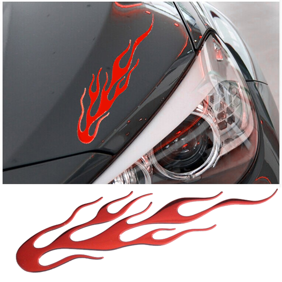 Dewtreetali Hot Sale  3D Flame Car Styling Emblem Badge Sticker PVC Car Sticker For Rearview Mirror