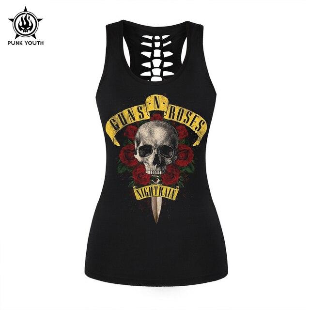 Giovani Canotta Shirt Di Guns Moda Donne Nero T N Rosa Marca Punk TZuwOPikX