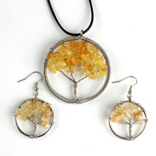 XSM New Trendy Silver Plated Citrine Tree of Life Pendant Dangle Earrings For Women Fashion Jewelry