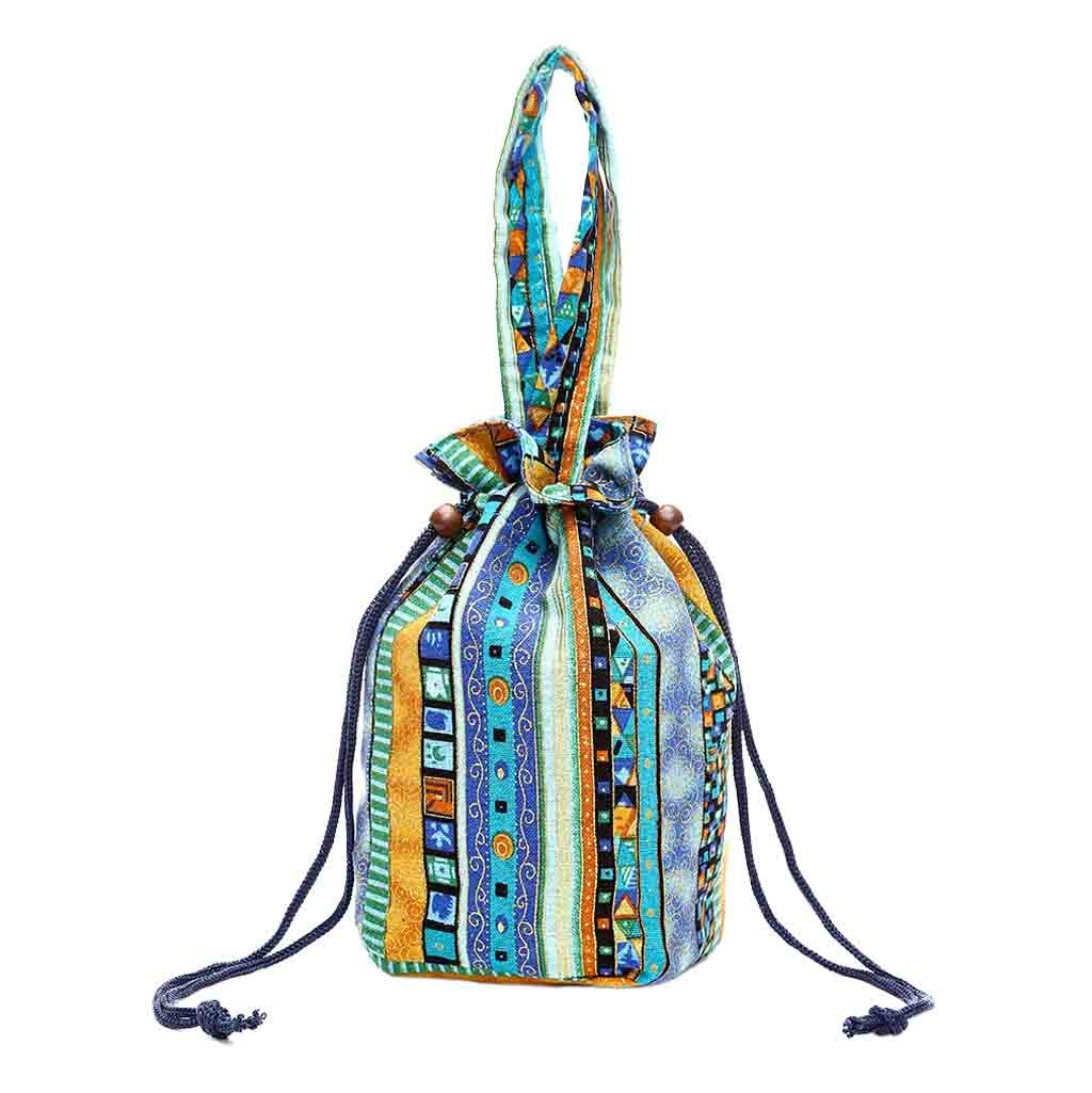 Canvas Floral Print Bucket Hand Bag Folk-Custom Printing Drawstring Handbag Super Quality Sac Main Femme