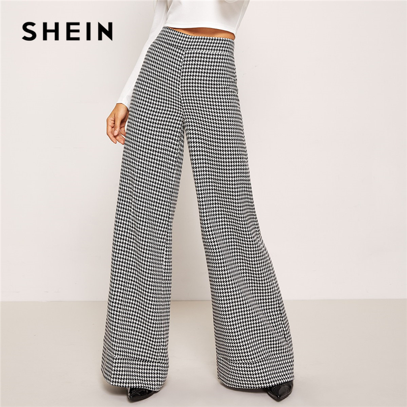 SHEIN Black And White Zip Up Plaid Houndstooth   Wide     Leg   Flare   Leg   Low Waist   Pants   2018 Autumn Casual Workwear Trousers