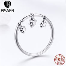 Dog Ring 925 Stelring Silver Love Paw Dog Animal Pendant Women Finger Ring Original Design silver ring 925 Fine Jewelry GXR394(China)