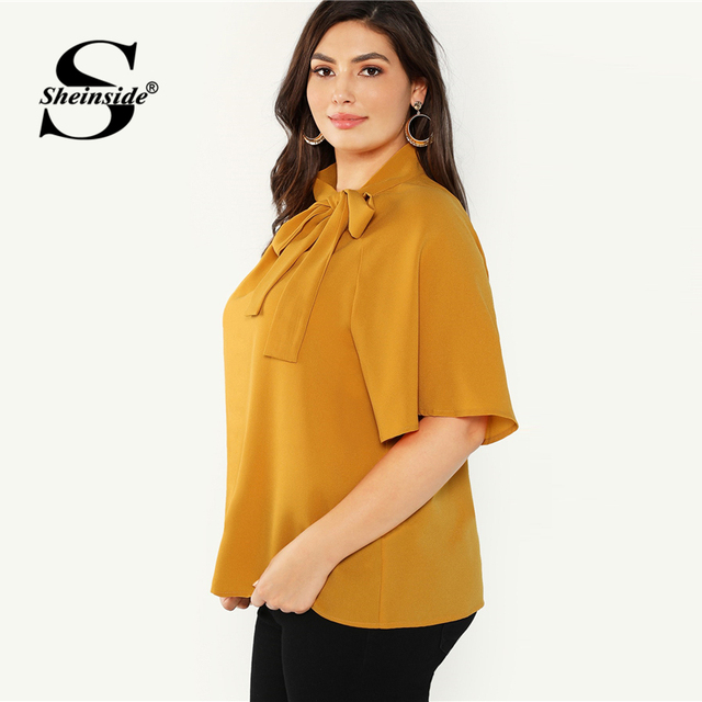 Sheinside Plus Size Elegant Bow Tie Neck Blouse Women 2019 Summer Raglan Sleeve Chiffon Blouses Ladies Stand Collar Solid Top 2