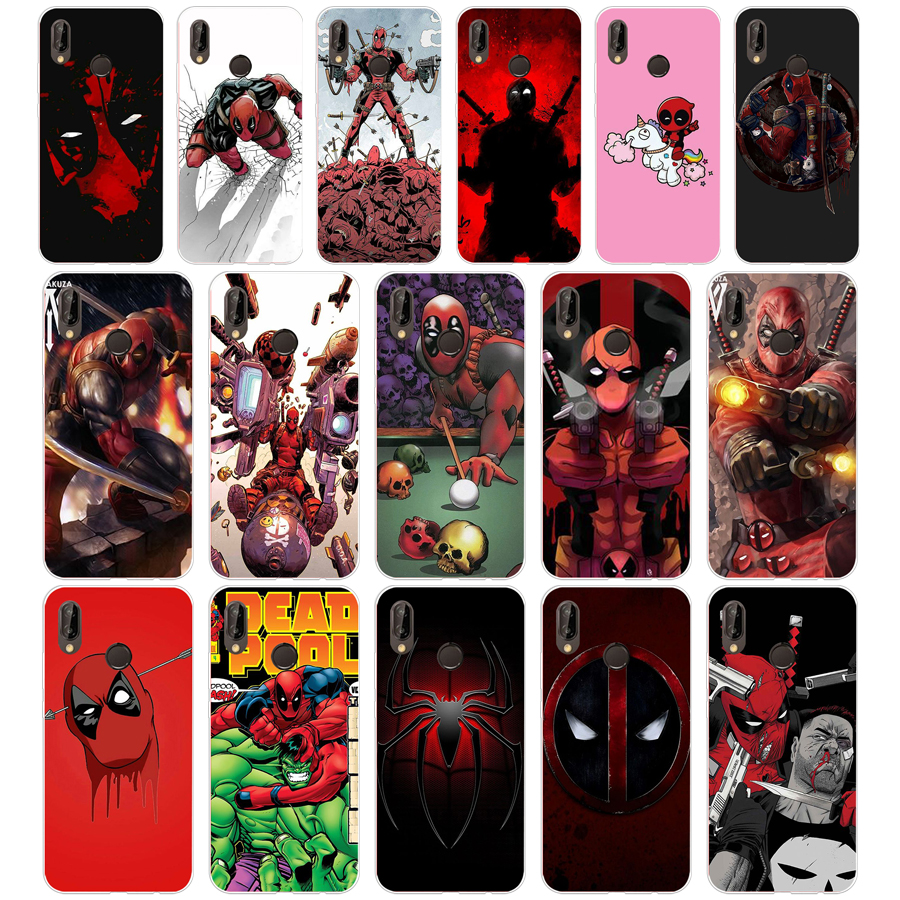 09sd Marvel Hero Deadpool Coque Zachte Siliconen Tpu Cover Case Voor Honor 10 Huawei P Mate 10 20 Lite Y5 Y6 Prime 2018