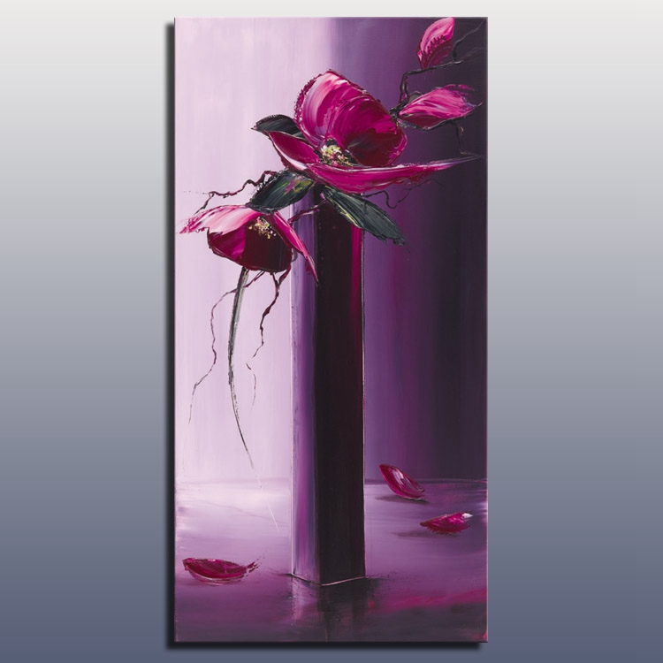 Hotselling handmade good quality flower painting canvas modern heavy texture abstract flower art