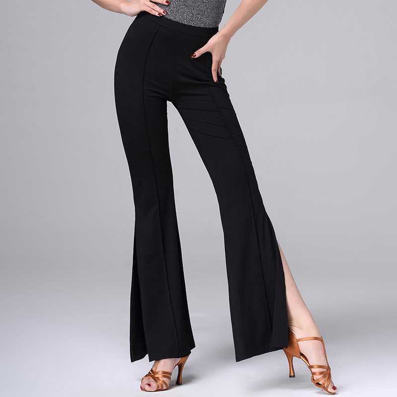 Latin Dance Pant For Ladies Cha Cha Black Trousers Women Good Quality Square Latino Personality Tailo Ballroom Long Pants MD8308