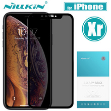 Nilkin for iPhone Xr Anti Spy Tempered Glass Nillkin 3D AP+Max Anti Glare Privacy Screen Protector Film for iPhone Xr 6.1''