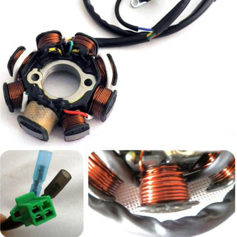 <font><b>DC</b></font> Ignition Stator Magneto Coil Generator 8 Poles for GY6 150cc 125cc Chinese Scooter Moped ATV Quad Pocket Bike image