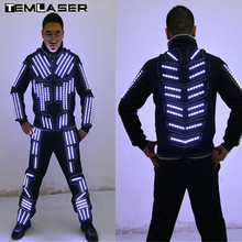 Трон светодиодный костюм Traje светодиодный робот костюм светодиодный Костюмы световой танцевальный костюм, светодиодный один Цвет, мерцающий программировать удаленные Управление светодиодный костюм