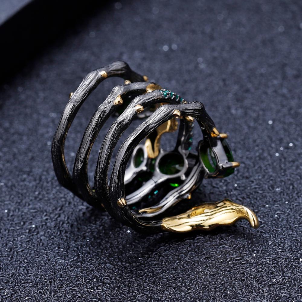Image 3 - GEMS BALLET 2.57Ct Natural Chrome Diopside Gemstone Finger Ring  925 Sterling Sliver Leaf Band Rings For Women Fine JewelryRings   -