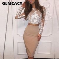Women 2 Pieces Dress Elegant Casual Cocktail Party Midi Alluring Suit Sets Crochet Floral Lace Eyelash Top & Slinky Dress Sets