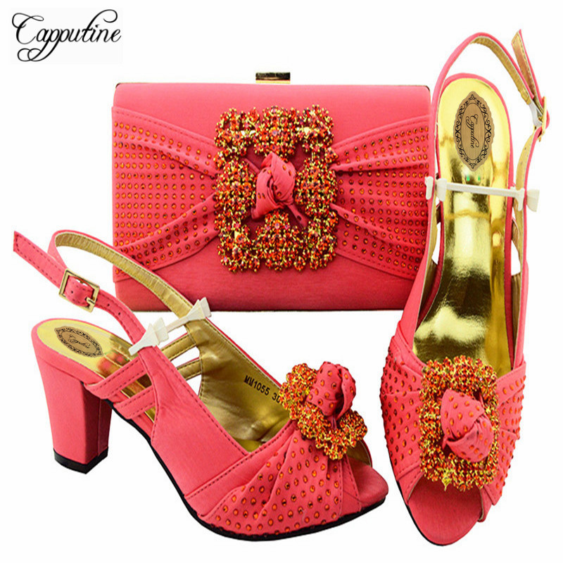 Capputine Hot Sale Italian Elegant Shoes And Bags African Rhinestones Middle Heels Shoes And Bags Set For Wedding Party M10553 elegant m