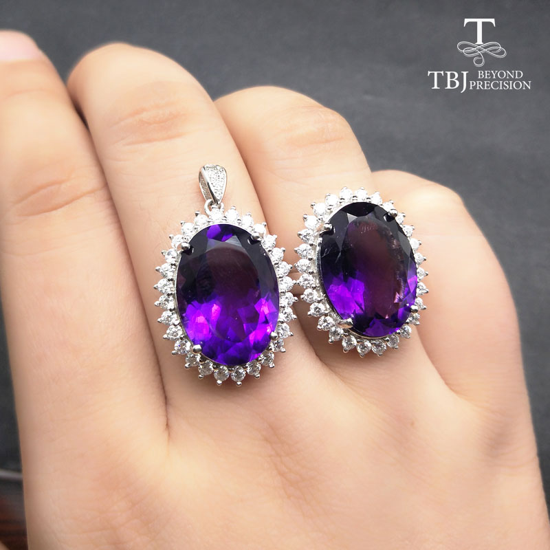 TBJ,Big gemstone Diana's Jewelry set pendant and Ring with natural amethyst 19ct gemstone for women in 925 silver with gift box gifted set 26pcs iron box gift tools in fancy and portable silver tone box