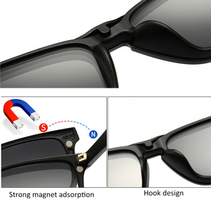 Image 3 - New Include Frame Polarized Clip On Sunglasses Men TR90 Custom prescription lenses Magnetic clips night glasses drive Magnet