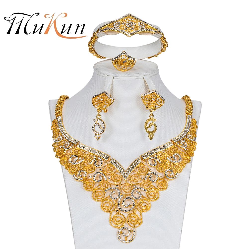 MUKUN Bridal Gift Nigerian Wedding African Beads Jewelry Set For Women Jewelry Sets Imitation Crystal Dubai Ethiopian Jewellery Ожерелье