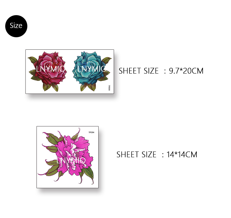 17 Lnymio temporary tattoo pretty flower large size pink and blue body art tattoo sticker 18
