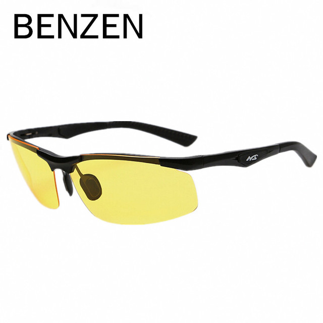 BENZEN Men Night  Driving Glasses Vision Goggles Alloy  Night Vision Glasses Male  Driving Glasses NVG With Case 8005