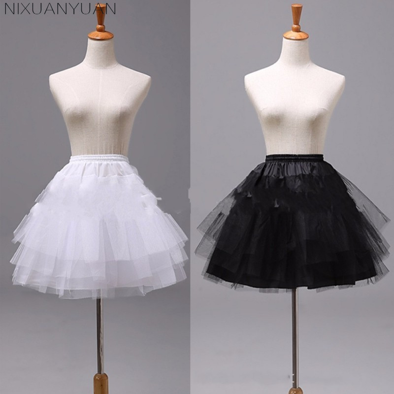 NIXUANYUAN White or Black Short Petticoats 2019 Women A Line 3 Layers Underskirt For Wedding Dress jupon cerceau mariage(China)