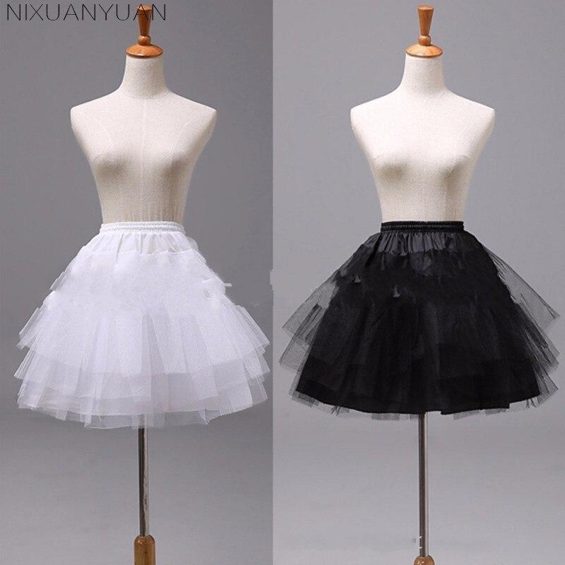 NIXUANYUAN blanc ou noir court jupons 2019 femmes une ligne 3 couches sous-jupe pour robe de mariée jupon cerceau mariage