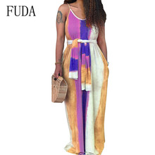 FUDA Women Summer Maxi Dress Sexy Spaghetti Strap Sleeveless Hollow Out Floor-length Ladies Casual Vintage Striped