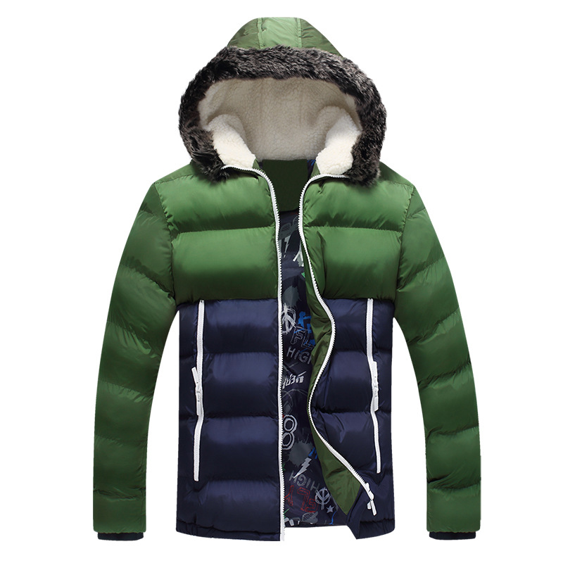 ФОТО  2016 Brand New Contrast Color Mens Winter Jackets Men's Parka Fur hood Men Coat Winter Casual & Fit Thick Man Down Jacket