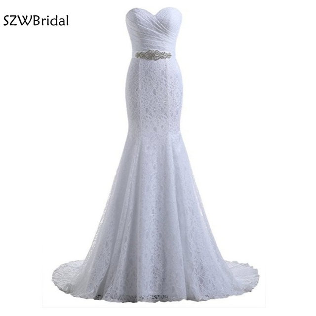 Chegada nova Sereia vestidos de casamento Do Laço do vestido de casamento 2019 Barato Em estoque Vestido de noiva gelinlik vestido de casamento vestidos de noiva