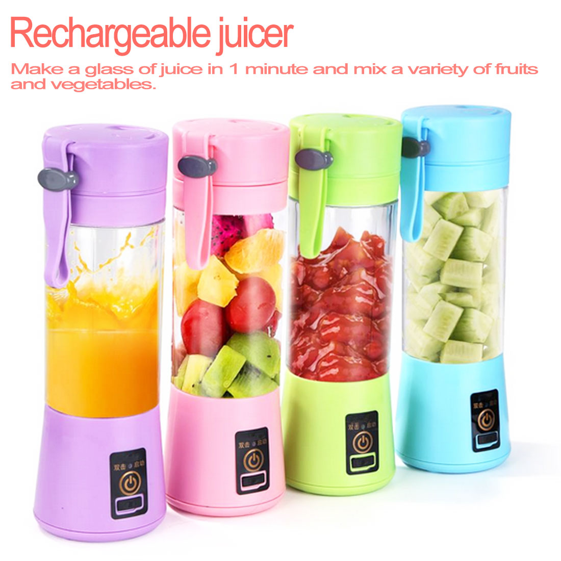 380ML 4 Blades Squeezer USB Rechargeable Juicer Bottle Blender Fruit Lemon Top Smoothie Vegetables Milkshake Bottle|Squeezers & Reamers| |  - title=
