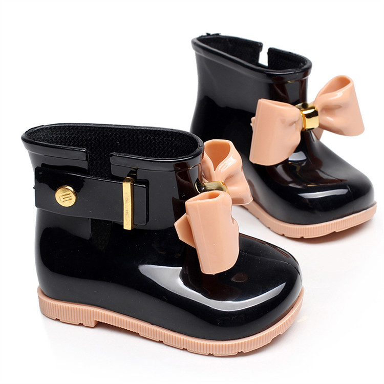 New kids boots girls shoes cute bowknot rain non-slip waterproof