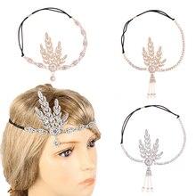 Gold And Silver 1920's Headband Bridal Hair Accessory Wedding Tiaras And Crowns Inspired Leaf Medallion Headpiece цены онлайн