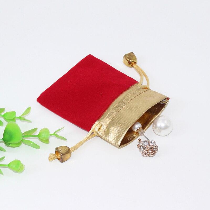 100pcs /Lot 7*9cm  Jewelry Pouches Velvet Gift Bags Wedding Favors Ring Bracelet Pendant Necklace Storage Drawstring Case