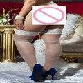 Meias Sexy mulheres 1 Peças Plus Size Novas Mulheres Meninas Lace Top Ocas Arrastão Meias Elevadas Da Coxa