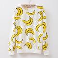 MITTELMEER Novo inverno Harajuku impresso Camisola o-pescoço de impressão Dos Desenhos Animados banana Camisola tops para as mulheres