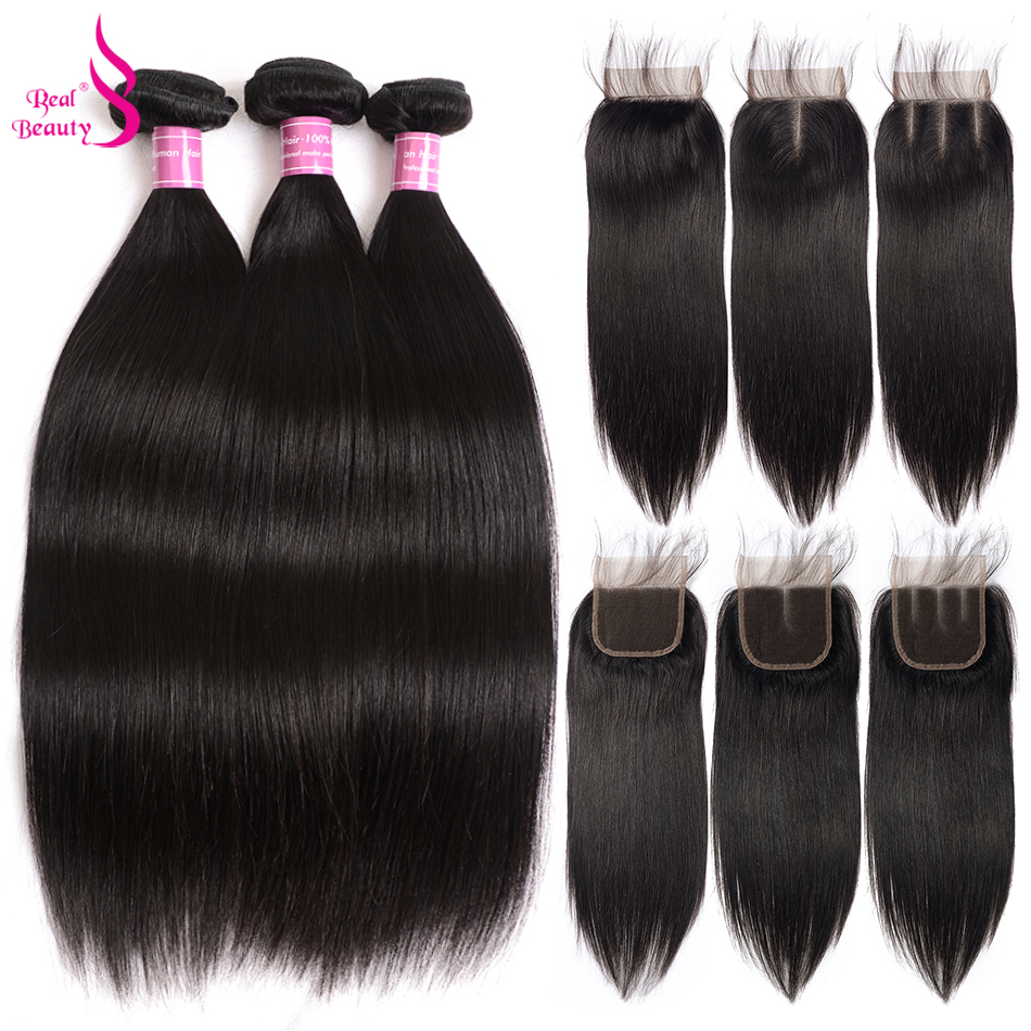 Real Beauty Brazilian Straight Hair 3 Bundles With Lace Closure MiddleFree3 Part 100% Human Hair Weave Bundles 8-26 Non Remy
