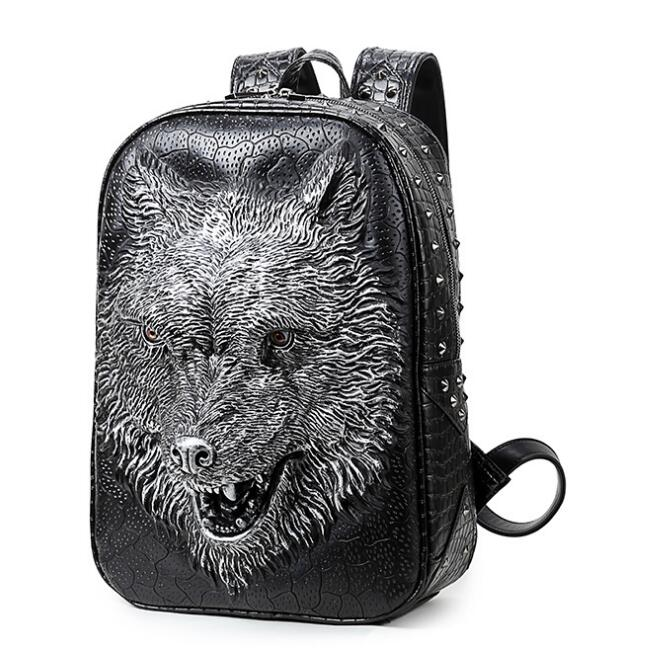 Sinpaid 3D Wolf Head Students Backpack Korean Version Of The Bag Shoulder For Men Women Female With Tide Bag Mochila qiaobao 2018 new korean version of the first layer of women s leather packet messenger bag female shoulder diagonal cross bag