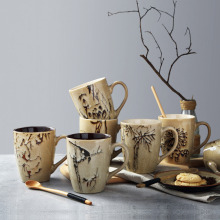 400ML Hand Painted Traditional Chinese Milk Mugs Freehand Creative Special Ceramic Coffee Mug