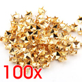 100x Gold 8mm Pyramid Studs Spots Punk Nailheads Spikes for Bag Shoes Bracelet shoes accessories