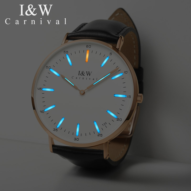 Carnival T25 Tritium Luminous Quartz Watch Men Uitra Thin Switzerland Wristwatches Mens Leather Waterproof Clock reloj