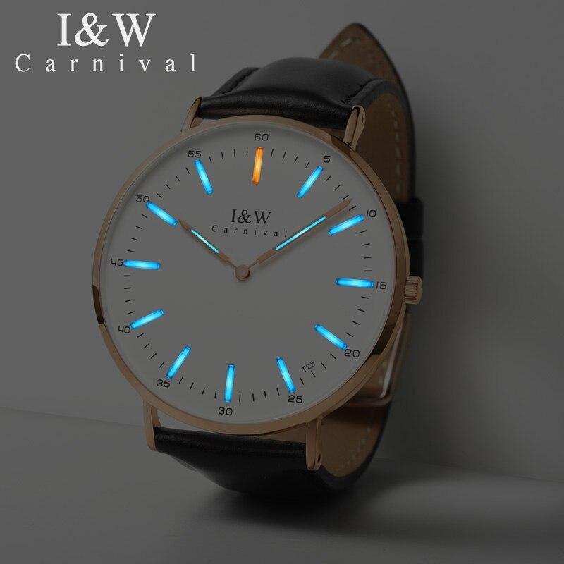 Carnaval T25 Tritium Lumineux Quartz Montre Hommes Uitra-Mince Suisse Montres Hommes En Cuir Imperméable À L'eau Horloge reloj hombre