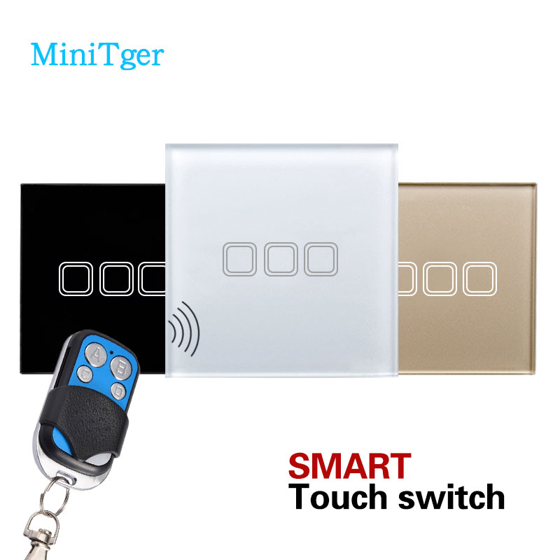 EU standard 3 Gang 1 Way Touch Wall Switch, Remote Control Glass Panel Crystal Light Switch + LED Smart House Indicator remote switch wall light free shipping 3 gang 1 way remote control touch switch eu standard gold crystal glass panel led