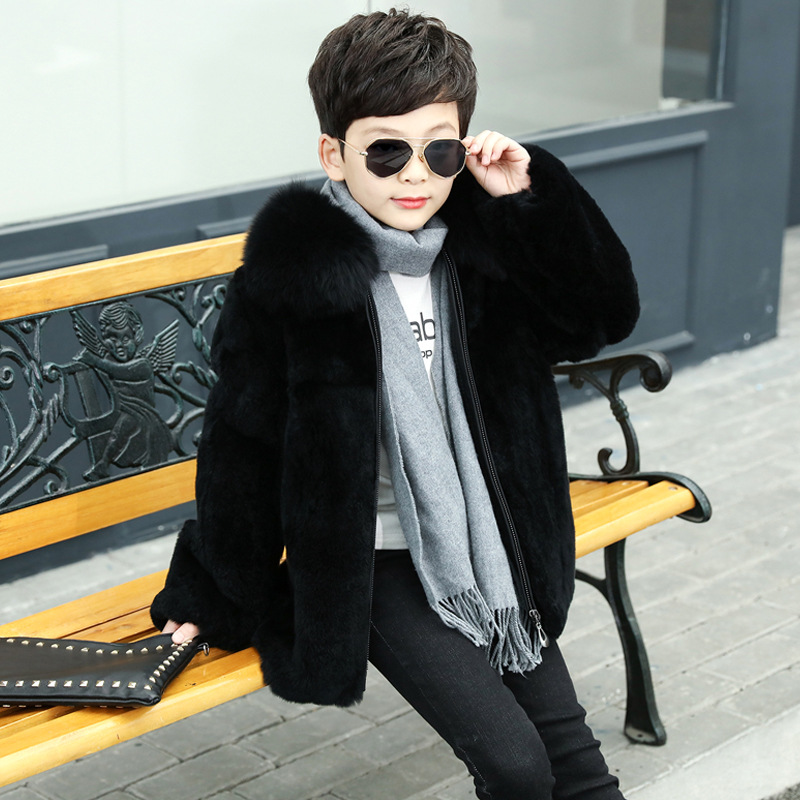 New Autumn and Winter Rabbit Fur Children's Fashion Coats Boy Natural Rex Rabbit with Fox Fur Collar Jacket Leather Outerwear 2013 winter new women s fashion luxury finland fox fur collar rabbit placket thickening slim medium long down jacket free ems