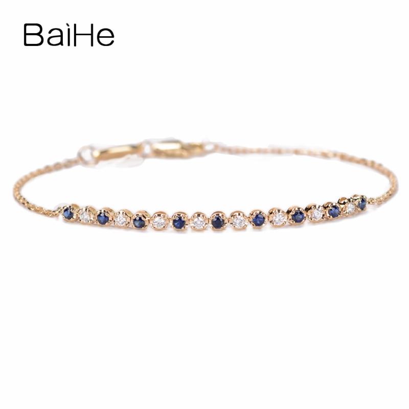BAIHE Sólida 18K Ouro Rosa (AU750) 0.16ct H/SI Rodada Completa CUT 100% Genuine Natural Diamantes Casamento Fine Jewelry Moda Pulseira