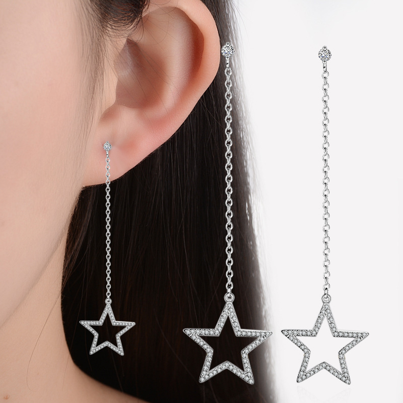 Hot Sale Wholesale 2018 New Fashion Star Design Shiny Zircon 925 Sterling Silver Stud Earrings for Women Jewelry Christmas Gift in Stud Earrings from Jewelry Accessories