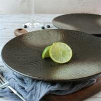 Japaness Retro Dinner Plates Food Dish Black Dinnerware Ceramic Dish Personality Creative Hotel Home Salad Steak Plate