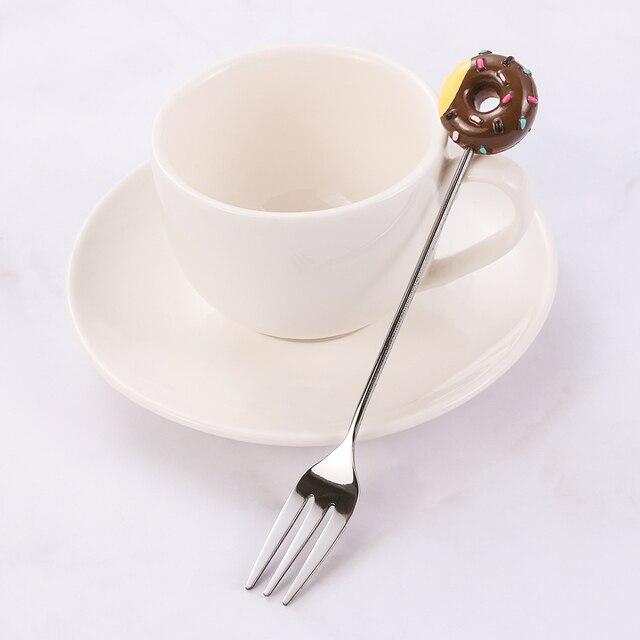 Donut Cute Acero inoxidable Donut postre cuchara tenedor café helado dulce cocina cubiertos bebé niños vajilla