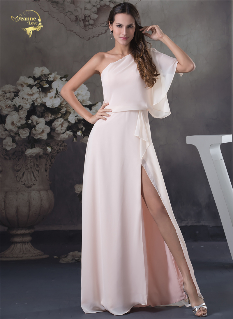 Fashion Vestido De Festa One Shoulde Party Evening Dresses 2019 Pink Formal  Open Leg Prom Robe f1df1b4fbdaf