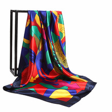 LEAYH Brand 90cm Satin Faux Silk Square Scarf Abstract Oil Paintings Print Scarves Fashion Hijab Head Wraps Bandanas