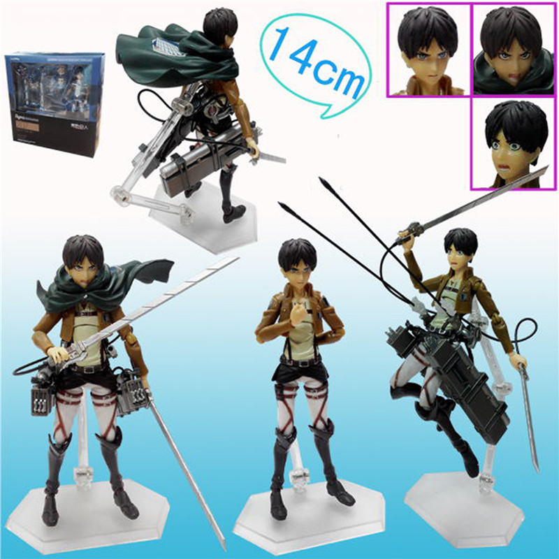 1pc/lot Attack on Titan Anime Figure Eren Jaeger Brinquedos Figma 207 PVC Action Figure Juguetes Collection Model Kids Toy 15cm figma sp 056 the thinker pvc action figure collectible model toy 15cm doll table figure for decoration