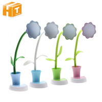 Sunflower LED Desk Table Lamp With Pen Holder Dimmable Touch USB Rechargeable Reading Lamp Flexible Night