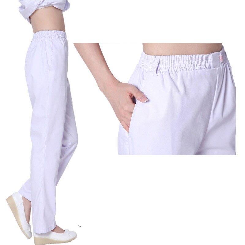 Nurse Pants White Elastic Waist Summer Blue Pink Female Doctor Pants Winter Work Pants Large Size Physician Service